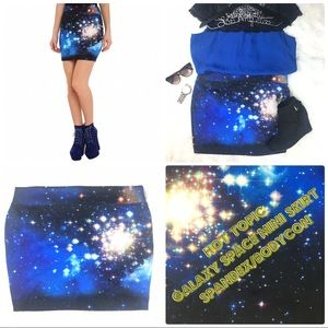 Hot Topic Galaxy Space Stretchy Mini Skirt Contour